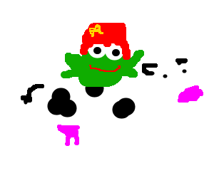 frog with red hair riding on a cow