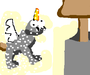 unicroplatypuhippogryph in snow next to a well