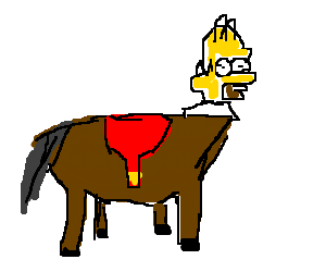 horse with homer simpson head