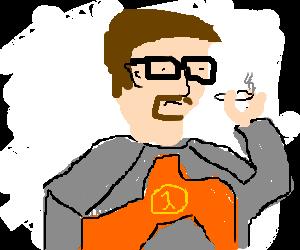 Gordon Freeman smokes a joint