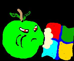 An apple eating the windows logo