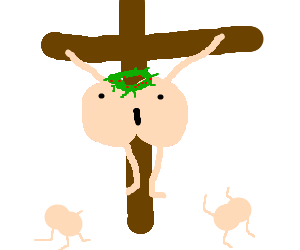 Butt Jesus on the cross with butt worshipers