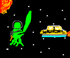 Alien with giant arm hails taxi in space