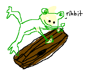 A frog jumps over a log