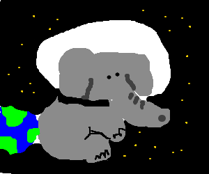 Astronaut elephant floats in space