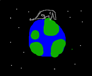 The space elephant sits on earth.