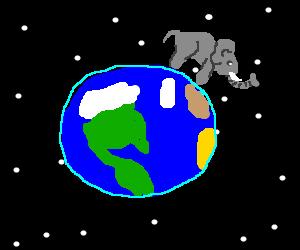huge elephant standing on the world