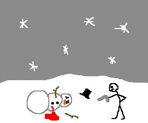 a dead looking snowman
