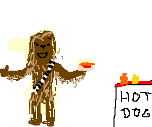 Chewbacca loves Hotdogs w/ Mustard and Relish