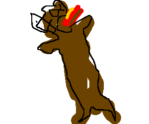 Chewie eating hot dog