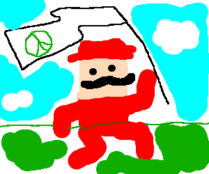 Mario with the peace-flag