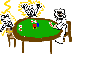Zeus cheating in a poker game