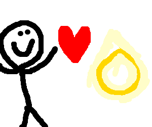 A happy man who loves pointy yellow circles