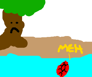 Floating gem is not impressed with sad tree