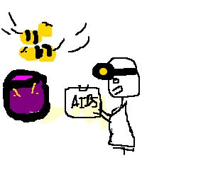 Purple cup gets aids test, is annoyed by bees