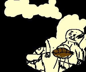 2 orcs eating american football ball