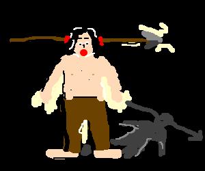 A man with a spear through his head