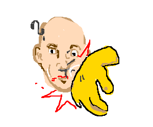 Disembodied yellow hand slaps confused man