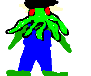 Cthulu grows afro, wears overalls