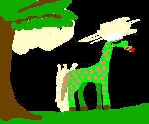 green/brown giraffe with cigar, smurf hat, specs