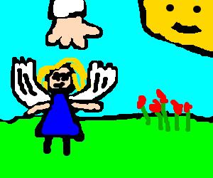 dead woman feels like a bird in the garden