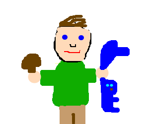 Man with mushroom and blue weird animal thing