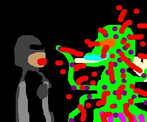 robocop tortures an alien with staring