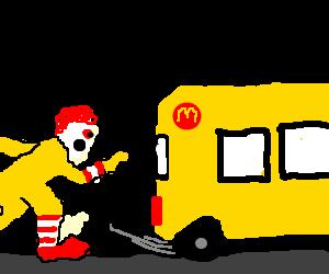 ronald mcdonald bus on a road trip