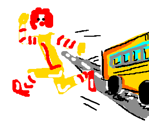 Ronald McDonald leaves his bus in drive.