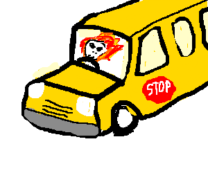 ghost rider driving a schoolbus