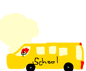 Ghost rider drives a school bus