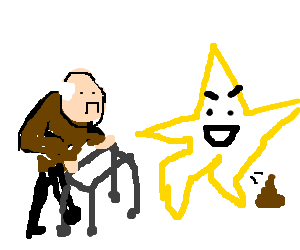 Old man is sad as mean star shits infront of him