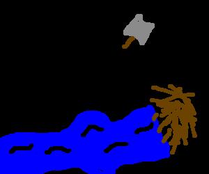 Stick figures destorying a beaver's dam.
