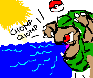 golem eating ocean under sun