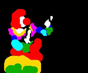Clown flicks kids off