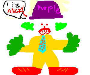 Angry clow in purple hat