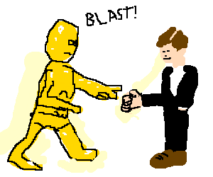 C3P0 and Crispin Glover play rock paper scissors