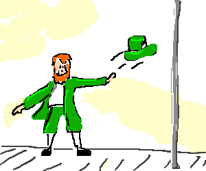 leprechaun discards his hat and becomes a dancer
