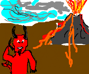 Devil's call during an eruption