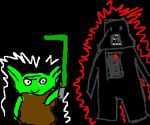 Goblin with bent lightsaber confuses Vader
