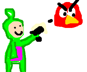 Green Teletubby shoots red Angry Bird.