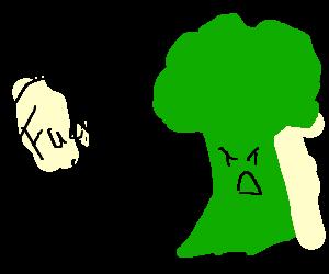 a broccoli swearing