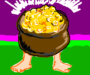 a pot of gold with a mans legs sticking out