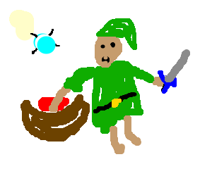 Link finds master sword in bowl of spaghetti-o's