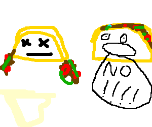Taco loses insides