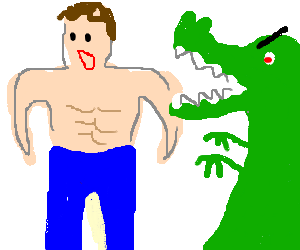 a guy with a six pack attacked by green dinosaur
