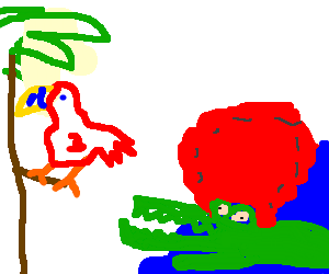 crocodile in red wig, unsuspecting parrot