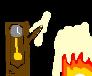 Grandfather clock Nazi Salutes a fire