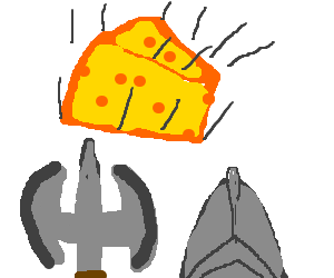 A swiss cheese, falling to a spiky death.