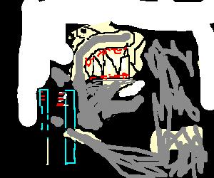 A shark bleeding from the gums.